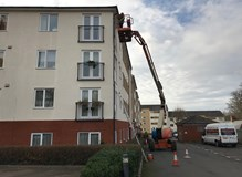 Gutter repairs using cherry picker