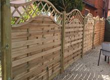 Sussex Weave panels,100mm posts, Gravel boards, Temple Caps