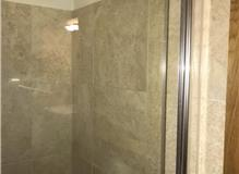 Shower tray replacement, retile section , install sliding shower doors