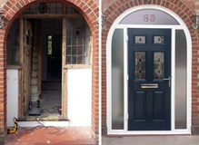 Composite Door within Arched Frame