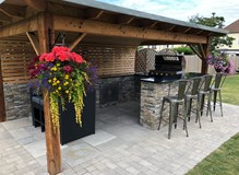 Outdoor bbq and dining area completed