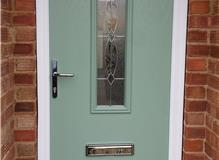 Sage composite door with Mezanno glass