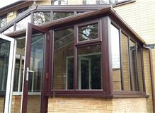 Gable fronted rosewood conservatory