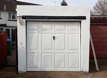Old steel garage door in Southampton