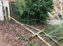 Rotten fence posts and snapped rails