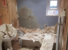 Old bathroom completely removed