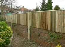 Capped closeboard fencing on and existing Victorian wall