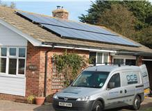 Installation of solar panels to roof.
