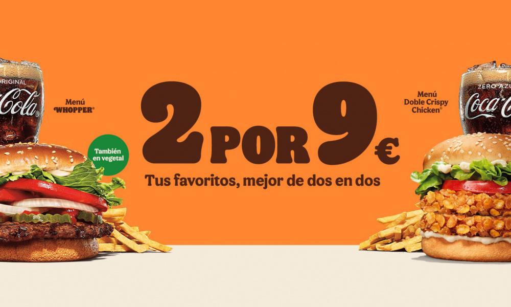 BURGER KING: 2 MENÚS POR 9€