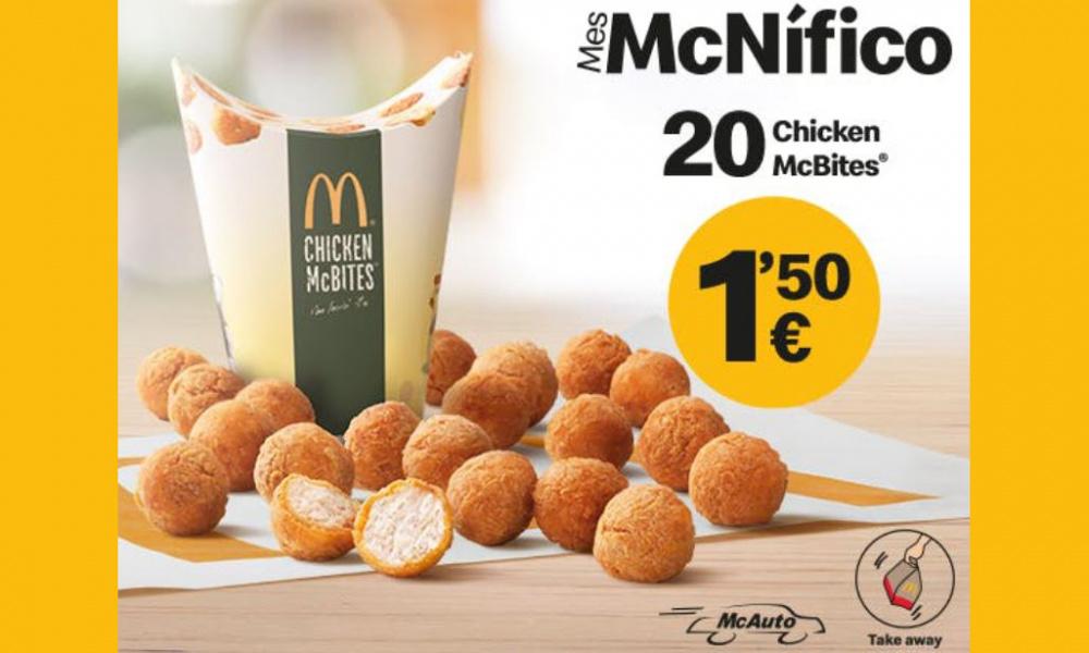 MCDONALD'S: 20 CHICKEN MCBITES POR 1,50€