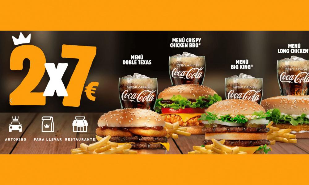BURGER KING: 2X7€ EN MENÚS