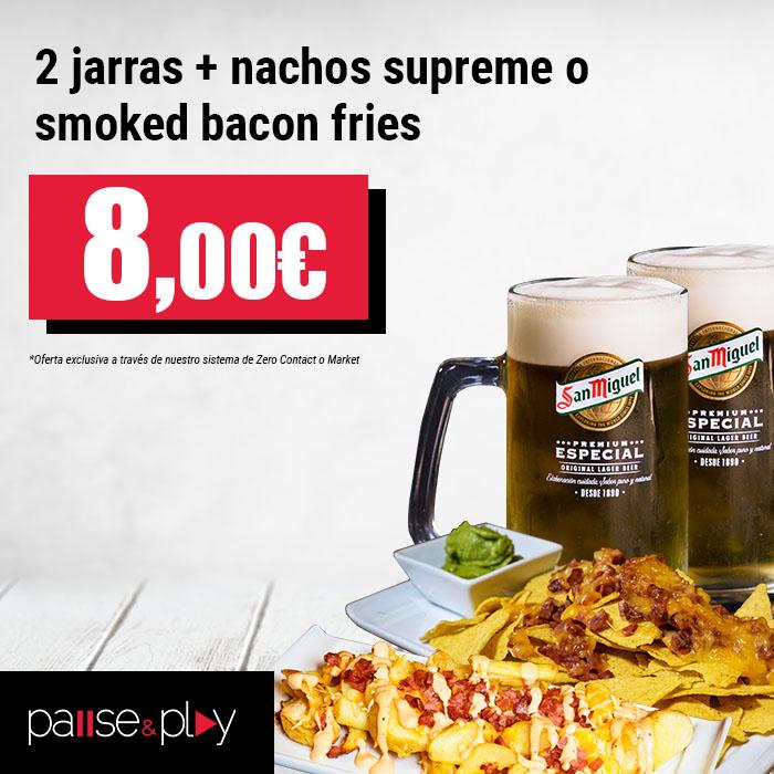 Pause&Play: 2 jarras + nachos o smoked bacon fries por 8,00€