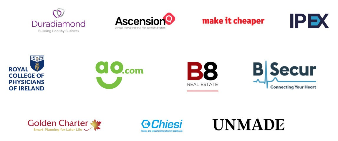 Eleven Content partner logos - Duradiamond Healthcare, Ascension Q, make it cheaper, IPEX, Royal College of Physicians of Ireland, AO.com, B8RE, B-Secur, Golden Charter, Chiesi, Unmade