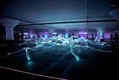 Long exposure light trails in car park