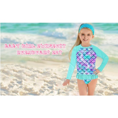 UNIFACO Toddler Girls Swimsuit Rashguard Set Summer Beach Breathable Tankini with UPF 50 Sun Protection 2-8T