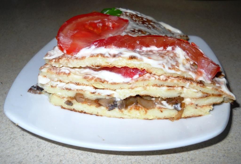 Блинный кабачковый торт.