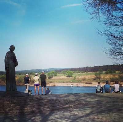 Таруса. Ока. Памятник М.Цветаевой