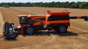 Video: 590 horsepower Tribine combine rolls of the production line in the US