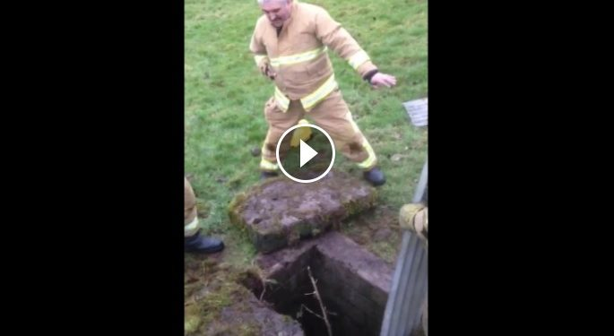 Video: Firefighters use unorthodox measures to rescue trapped lamb