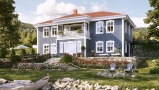 Flott familiehus med en vakker fasade og smart planløsning. Sjøutsikt og veldig gode solforhold. Månedskostnader ved privat finansiering på kr 20 462*