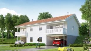 Prosjektert tomannsbolig med carport på Lindås. Sjøutsikt og båtplass.