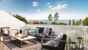 Hundhammeren - 1 SOLGT! Halvparter med 3 soverom, walk-in-closet, 2 bad, stor terrasse og herlig utsikt mot fjorden