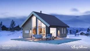 Turufjell - Tomt/grunnarbeid og komplett nøkkelferdig hytte med hems på 10 m2. Mønt himling i stue/kjøkken.
