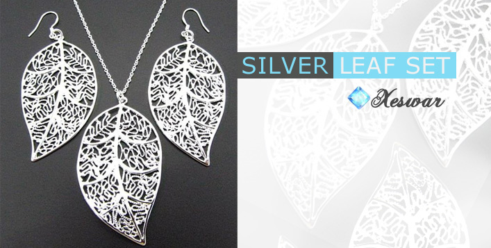 .925 Silver Leaf Jewellery Set