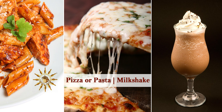 Pizza or Pasta & Creamy Milkshake