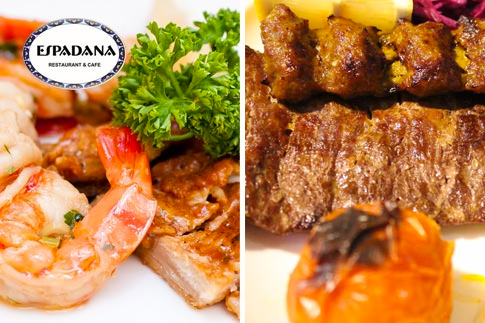 Dine at Espadana Restaurant, Dubai Marina, with a meal voucher worth AED 40 for AED 19. Enjoy Persian and international dishes and shisha - plus, free home delivery!