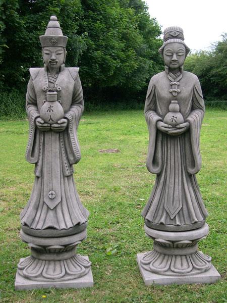 ORIENTAL STONE GARDEN STATUES ON PLINTHS | EBay