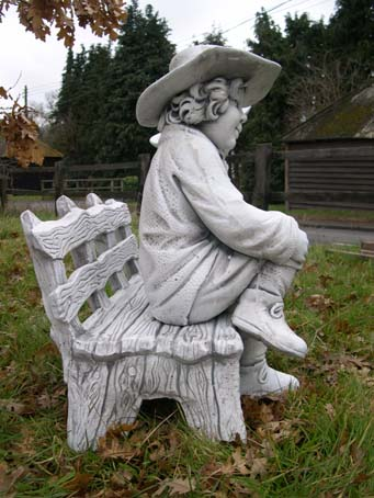 Town Boy And Girl On Bench Garden Statue Ornament Ebay