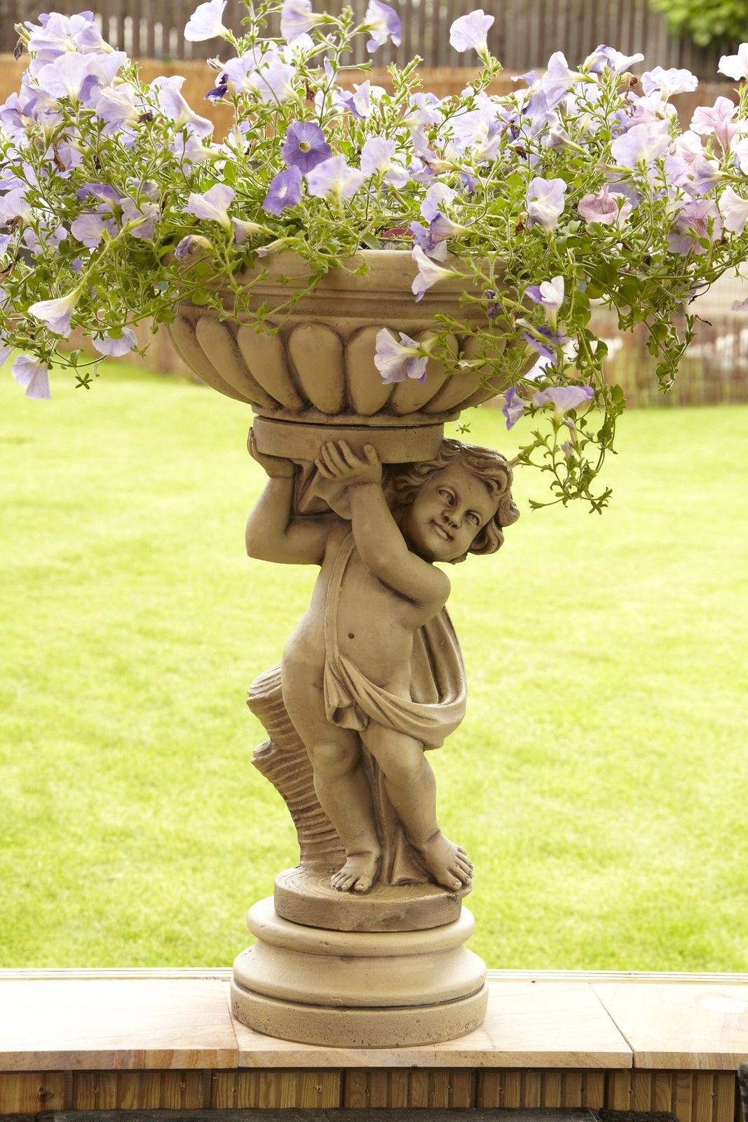 Head Planter Pots For Sale Large Stone Cherub Planter Garden Statue Bird Bath Ebay