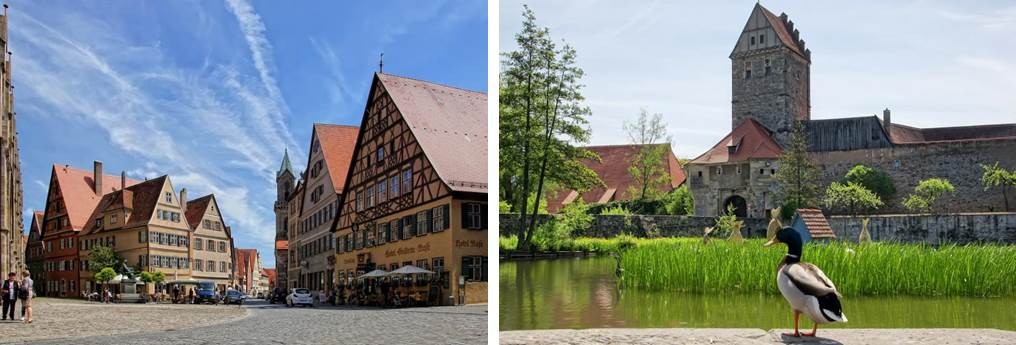Historische Altstadt und Ententeich Dinkelsbühl an der Romantischen Straße