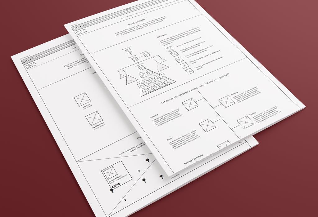 Wireframe Designs for a bespoke Wordpress design