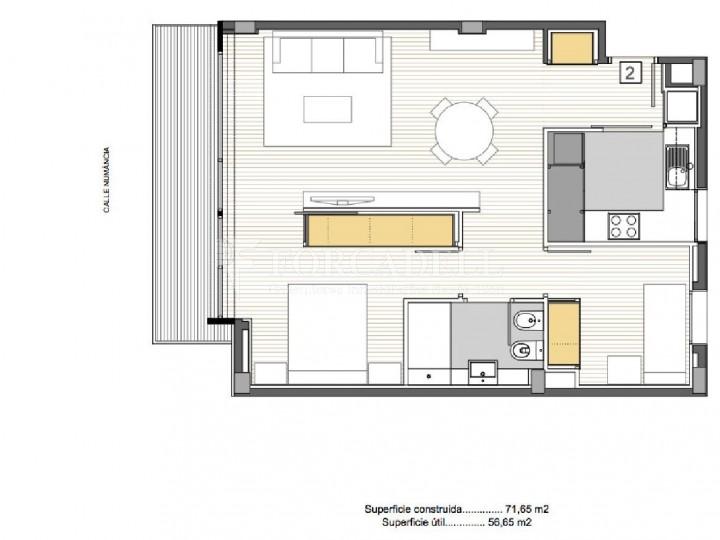 Pis d'obra nova de 71,65 m² al barri de Les Corts de Barcelona 9