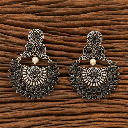 100119 Indo Western Chand Earring with Oxidised plating