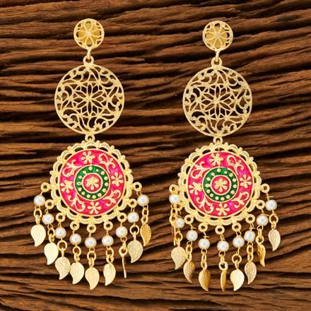 100259 Indo Western Long Earring with gold plating