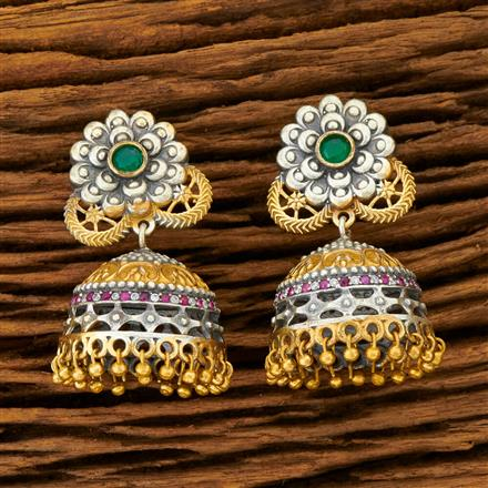 100261 Indo Western Jhumkis with 2 Tone plating