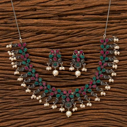 100289 Indo Western Trendy Necklace with Oxidised plating