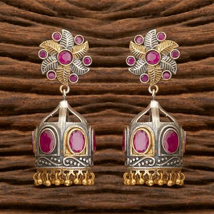 100304 Indo Western Jhumkis With 2 Tone Plating