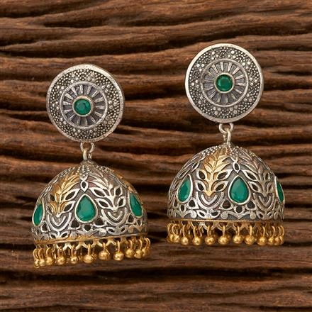 100306 Indo Western Jhumkis With 2 Tone Plating