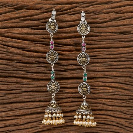 100309 Indo Western Long Earring With 2 Tone Plating