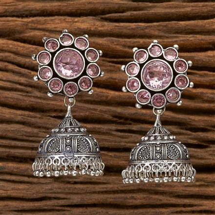 100312 Indo Western Jhumkis With Oxidised Plating