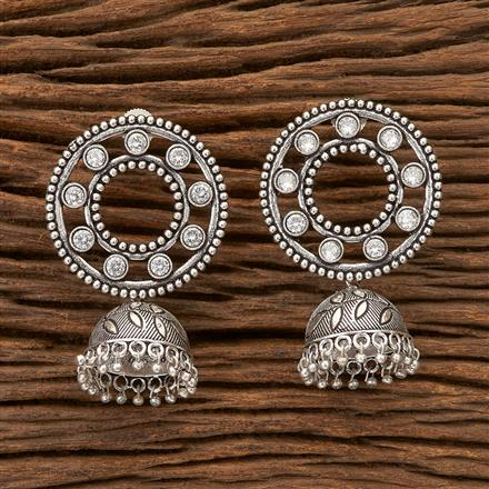 100316 Indo Western Jhumkis With Oxidised Plating
