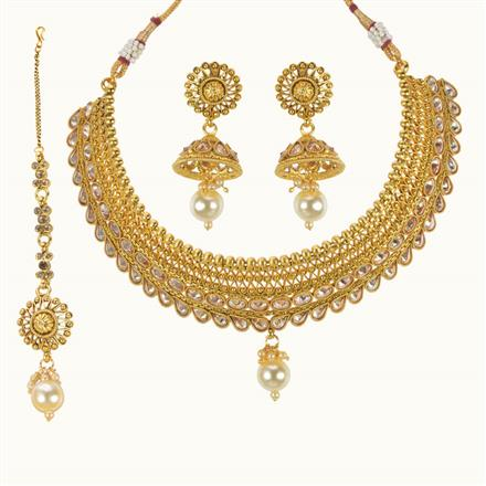 10041 Antique Mukut Necklace with gold plating