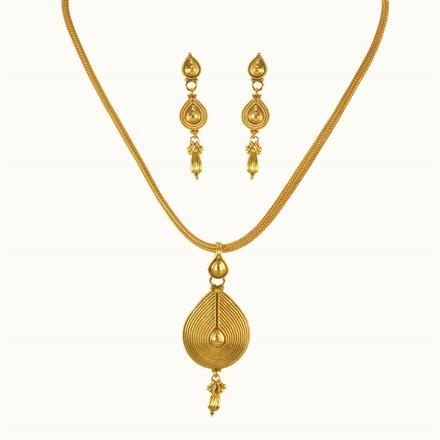 10101 Antique Plain Gold Pendant Set