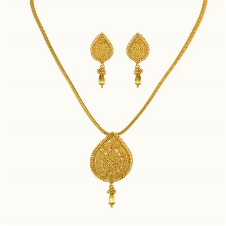 10104 Antique Plain Gold Pendant Set