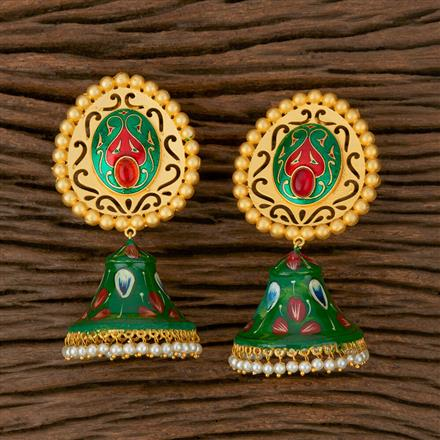 101704 Indo Western Jhumkis with Matte Gold Plating