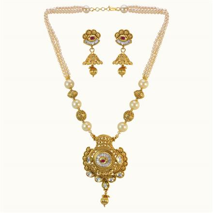 10174 Antique Mala Pendant Set with gold plating